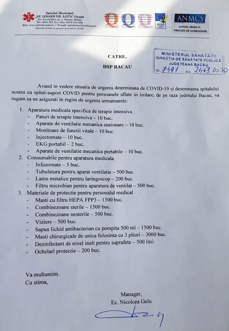 Lista cu solicitarea de aparatură și materiale sanitare de protecție către minister prin DSP Bacău