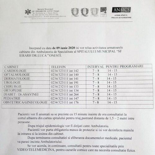 """ANUNȚ – Reluare activitate cabinete din Ambulatoriul de Specialitate al Spitalului Municipal Onesti """"Sfântul Ierarh Dr. Luca"""""""